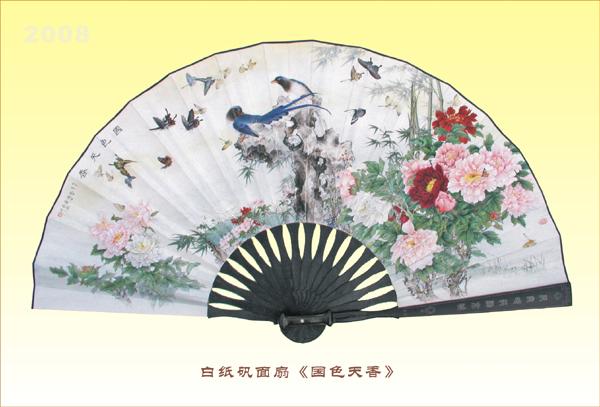 扇子画手绘图片鸟